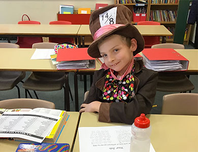Child dressed up for national book day